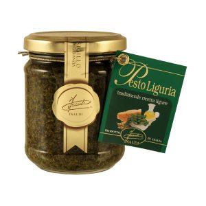 Pesto Liguria in foglie con pinoli formaggio e aglio vasetto 180g