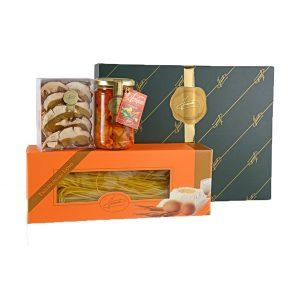 Confezione regalo classica Firenze contenente Tagliolini all'uovo 250g, Porcini Secchi Speciali 20g, Antipasto Campagnolo 290g
