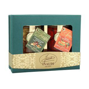 """Confezione regalo Luxury Box """"Antipasti Gourmet"""" contenente: Cocktail di Funghi in olio di oliva 180g, Peperini 180g"""
