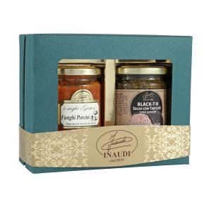 """Confezione regalo Luxury Box """"Fungo e Tartufo"""" contenente Sugo ai Funghi Porcini 180g, Black-T salsa con tartufo nero 180g"""