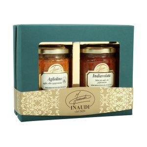"""Confezione regalo Luxury Box """"Piccante"""" contenente: Agliolino 180g, Indiavolata 180g"""